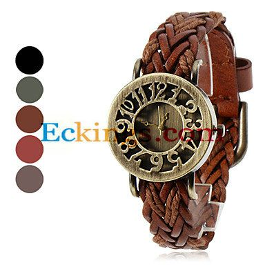 Women's Hollow Dial Knitted Leather Quartz Analog Wrist Watch (Assorted Colors) : Online Shopping for Watches, Toys & more