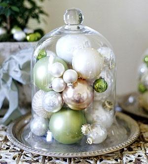 ornaments under a cloche