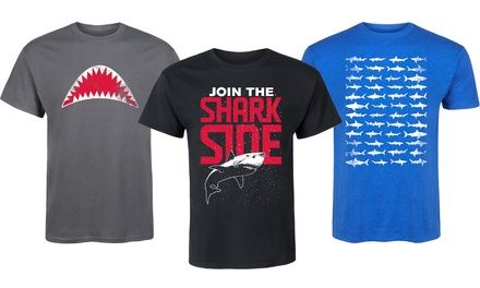Wear this men's T-shirt with a shark-themed graphic to celebrate Shark Week and show your support