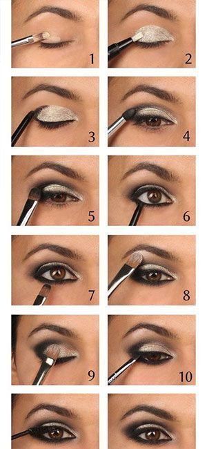 4. Be classy with black and silver smokey eyes