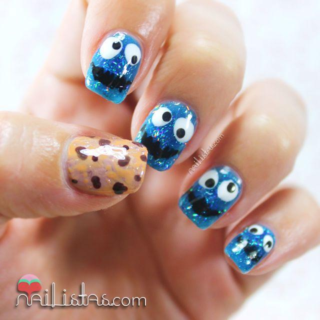 Uñas decoradas con el Monstruo de las Galletas   Triky nail art
