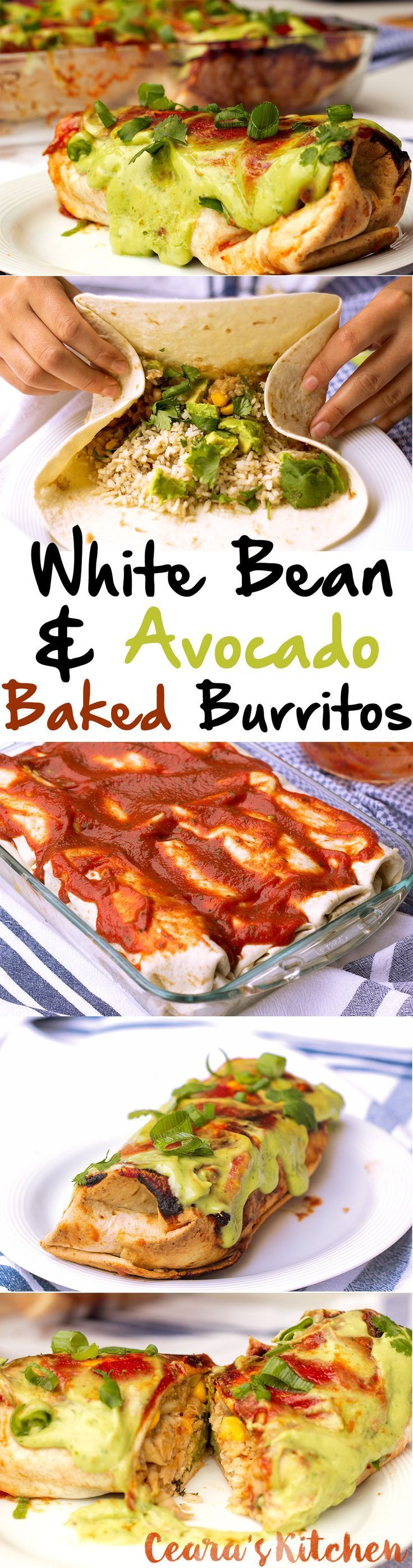 These White Bean and Avocado Baked Burritos make the perfect dinner - stuffed with white bean, mushrooms, corn + lots of avocado! #healthy #mexicanfood #burritos #vegan #vegetarian #glutenfree