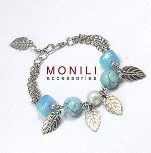 Blue Sky Bracelet. made of turquoise and riverstone. www.facebook.com/moniliaccessories