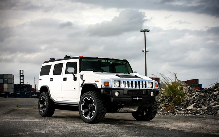 Download wallpapers Hummer H3, American SUV, tuning, white Hummer, American cars