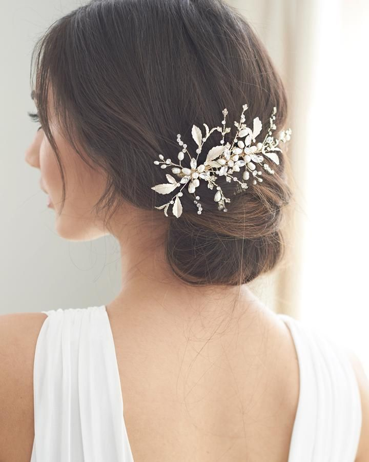Shop Wedding Headpieces To Complete Your Bridal Hairstyle Bridal Comb Is Crafted With Freshwater Pearls Leav Wedding Flower Comb Bridal Hair Buns Flower Comb