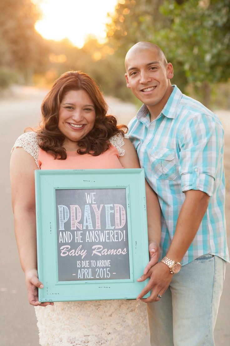 Printable Chalkboard Pregnancy Announcement | We Prayed & He Answered | Religious | Size: 11x14 | *Digital File* | by MMasonDesigns by MMasonDesigns on Etsy https://www.etsy.com/listing/200792968/printable-chalkboard-pregnancy