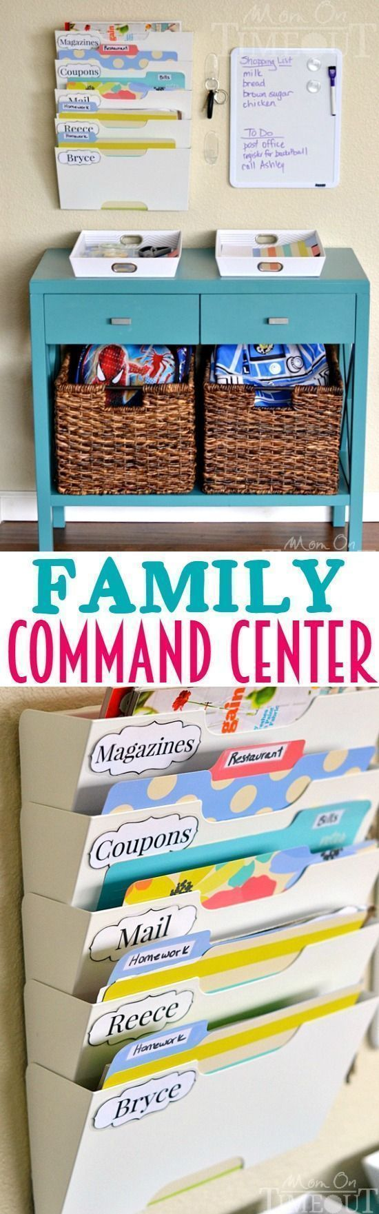 Banish the clutter and get the whole family organized with this DIY Family Command Center! | http://MomOnTimeout.com #organized Organizing on a budget