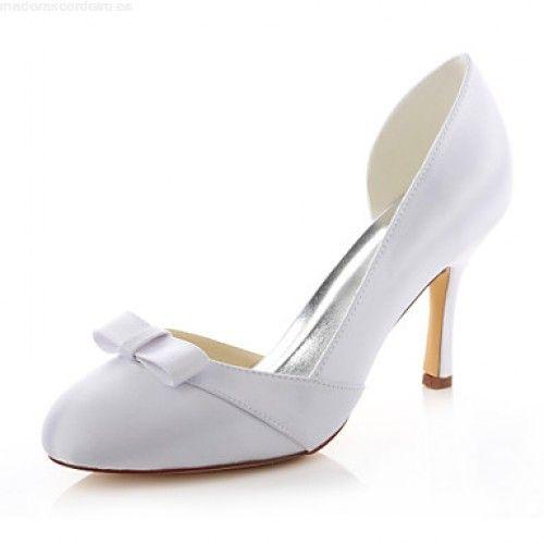 Comprar Vender Zapatos Mujer Tacón Stiletto Tacones / Punta Redonda Tacones Boda / Vestido / Fiesta y Noche Satén Elástico Blanco 5107201 2017 dfNrERzs