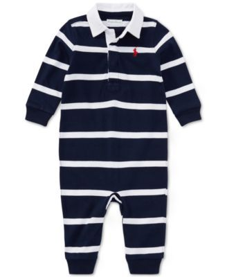 99e5c40d10ff Ralph Lauren Baby Boys Striped Rugby Cotton Coverall - Light Heather Multi 12  months