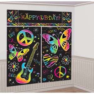 A679714 - Scene Setter Kit Neon Scene Setter Kit Neon Girl Happy Birthday, (2 x 82.5cm x 149cm, 1 x 113cm x 40.6cm, 2 x 26cm x 40.6cm) Combine for one giant decoration. Please note: approx. 14 day delivery
