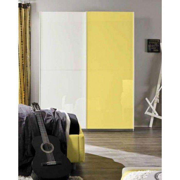 Armadio Parigi a due ante scorrevoli in finitura bianco laccato lucido e inserto orizzontale color giallo.