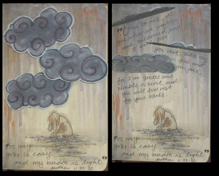 "Shoulder/sleeve: clouds, bent in prayer with verse - storm and light, humility imagery.    ""Come to me, all you who are weary and burdened, and I will give you rest. Take my yoke upon you and learn from me, for I am gentle and humble in heart, and you will find rest for your souls. For my yoke is easy and my burden is light."" Matthew 11:25-30"