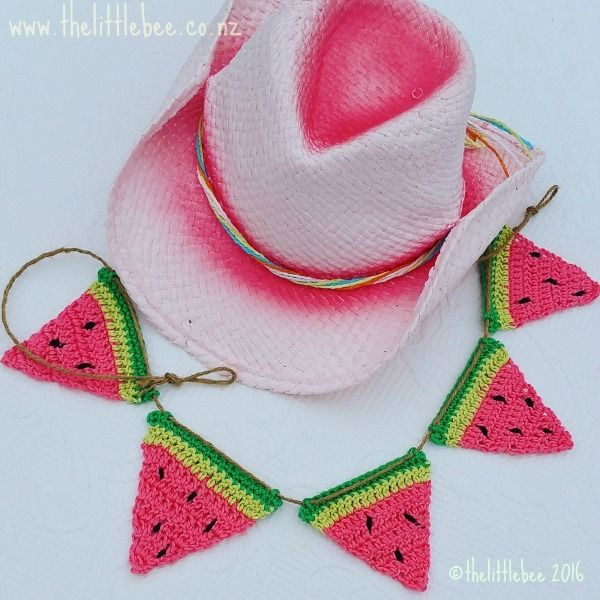 Sweet Watermelon Bunting - free crochet pattern by Alia Bland at The Little Bee.