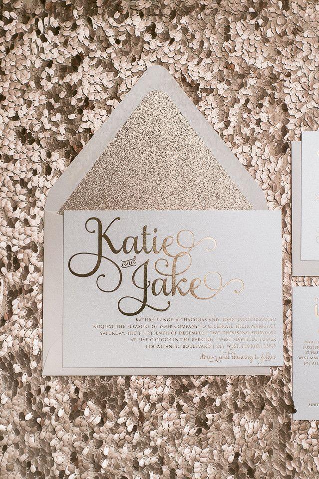 Rose gold wedding invitations! Rose gold foil, Rose gold glitter, and blush envelopes! #letterpress #foilstamping