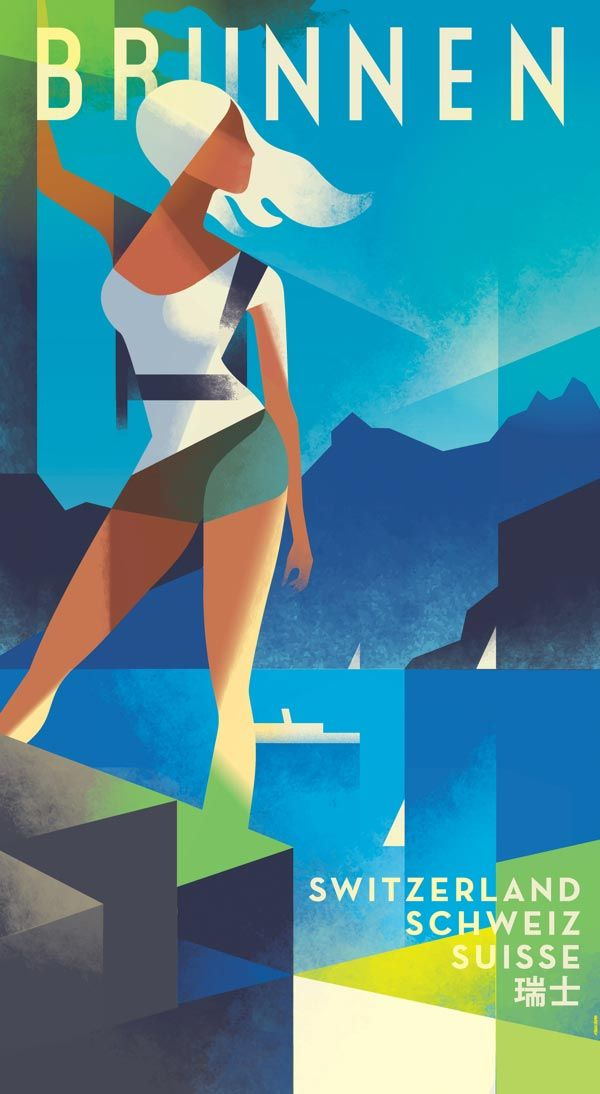 Commissioned Hiking Switzerland Vintage Travel Poster  Illustration by Mads Berg
