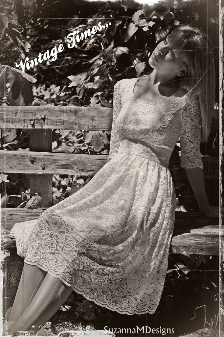 Lacen Ivory Wedding Dress / Short  tea dress / Vintage Gown / Handmade Wedding dress. €228.40, via Etsy.