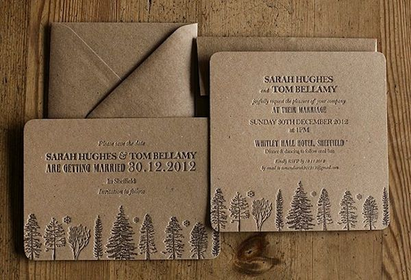 These letterpress invites would be perfect for a rustic wedding in the woods. By Artcadia