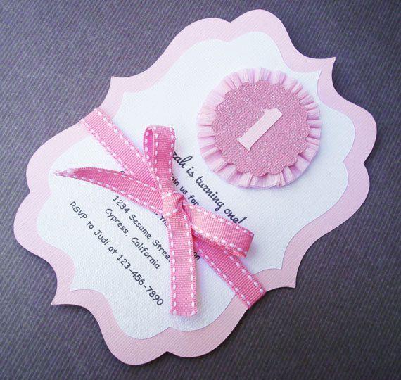 1st Birthday Handmade Pink and White Rosette Invitation for little Girl. $19.99, via Etsy.