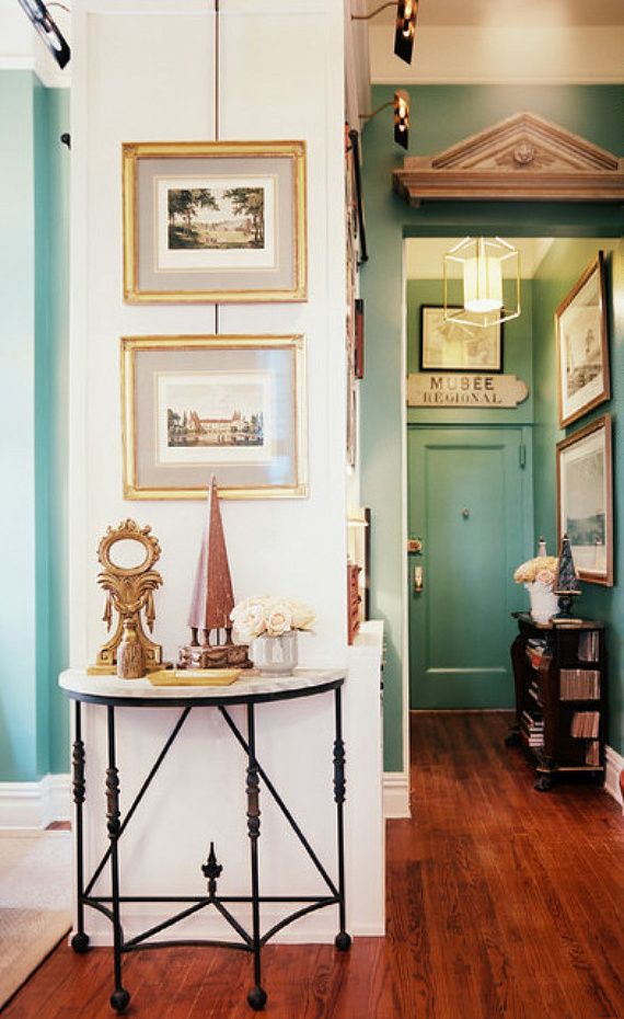IRON TABLE! French Traditional Hallway Details: Green French-Traditional Hallway Keywords: Antique Etchings,