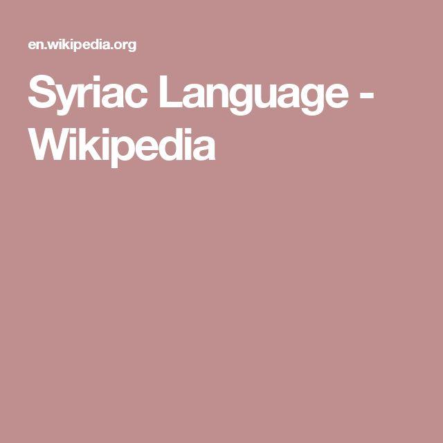 Syriac Language - Wikipedia