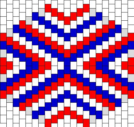 Red White And Blue Triangle Stripes Mask Bead Pattern | Peyote Bead Patterns | Simple Bead Patterns