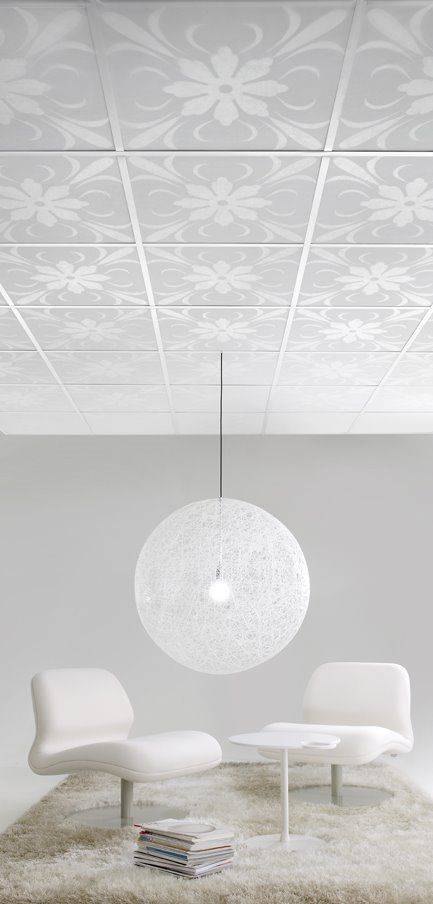 I love the ceiling idea. A modern take on vintage ceiling tiles. We don't have any drop ceilings, but a similar look could be attained with a stencil if I had the patience to do it. Perhaps in a bathroom where there is less ceiling.