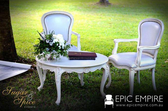 White Baroque Chairs and White Baroque Table. http://www.epicempire.com.au/baroque-side-table-large/ http://www.epicempire.com.au/baroque-dining-chair/ #byronbay #furniturehire #furniture #weddings #australia #brisbane #queensland