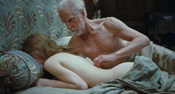 Old man and young woman in bed, unequal marriage