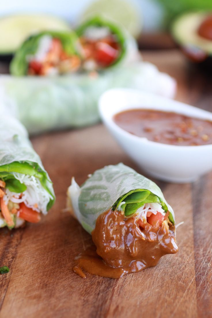 Non-Fried Spring Rolls with Vietnamese Chicken and Avocados