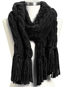 Womens Cable-Knit Scarves
