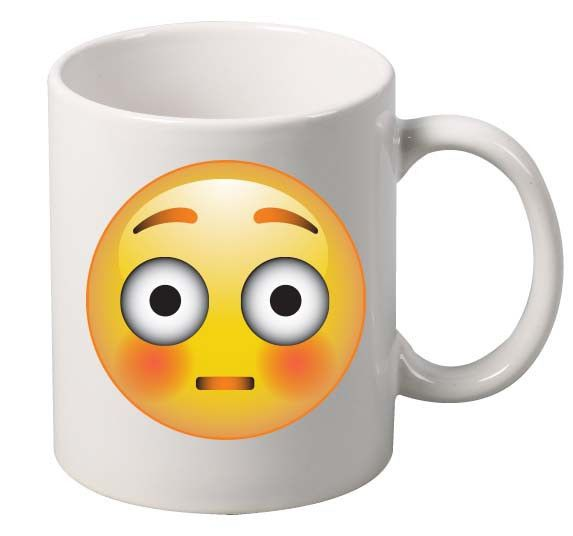 Shock Emoji Emoticon Mug A Cool White Ceramic Mug! 11 oz Coffee Mug, Tea Mug. High Quality, Cool Print. DishwLight Grayer and Microwave Safe. #mug #officedecor #home #emoji #shock