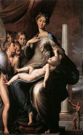 """Parmigiano (le Parmesan(1503/1540) - """"La madone au long cou"""" - Florence, Gallerie des Offices"""
