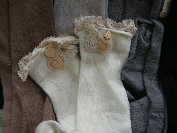 Boot Socks, Leg Warmers, Boot Topper, Knitted Boot Socks, Crochet Lace Trim, Buttoned Boot Socks. Decorative Buttoned Boot Socks, Lace Boot Socks. Warm & Comfy, Vintage Inspired Crochet Lace. Soft Stretch Boot Socks. Size: One Size fits most - Approx 21 total length Color Choice: Ivory,