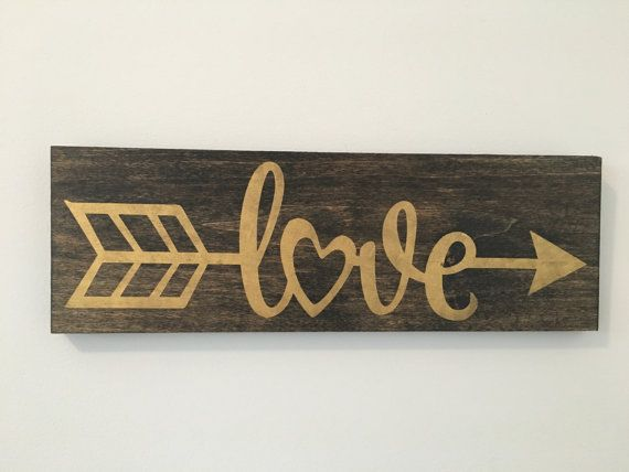Love Arrow Sign, Wood Sign, Gold Decor, Gallery Wall Decor, Nursery Decor, Valentine's Day Decoration, Rustic Sign