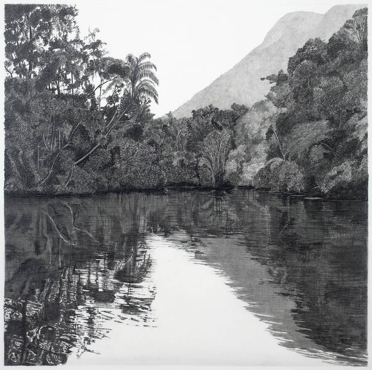 "francisco faria - ""two rivers/purple #3"", drawing, pencil on paper, 2005, 55x55cm."