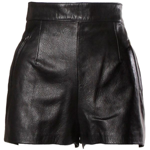 Pre-owned Moschino Vintage Black Leather High Waisted Shorts ($650) ❤ liked on Polyvore featuring shorts, skirts, bottoms, pants, black high waisted shorts, highwaist shorts, moschino, side zip shorts and high rise shorts