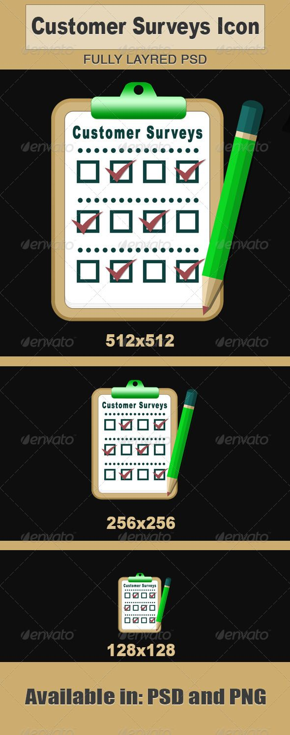 Vector illustration of Customer Surveys Icon.  Both .PSD and .PNG files available. also includes 20002000.PNG  512512.PNG  25625