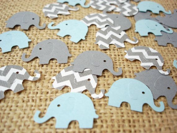 50 olifant Baby Boy douche Confetti No1076 van BelowBlink op Etsy