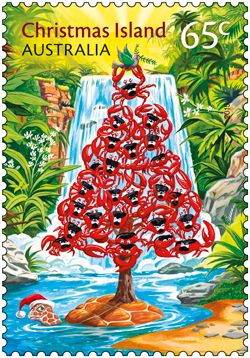 This year's Christmas Island Christmas stamp issue has taken a humorous approach to linking the festive theme to the island's name. Buy in-store or online: http://auspo.st/1QeheEo #StampCollecting #AustralianStamps