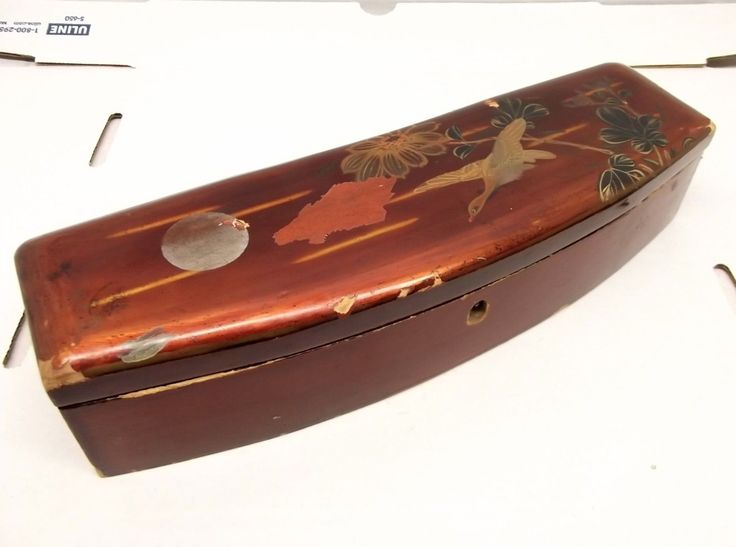 Antique Japanese Hand Painted Lacquer Glove Box Japan Bird