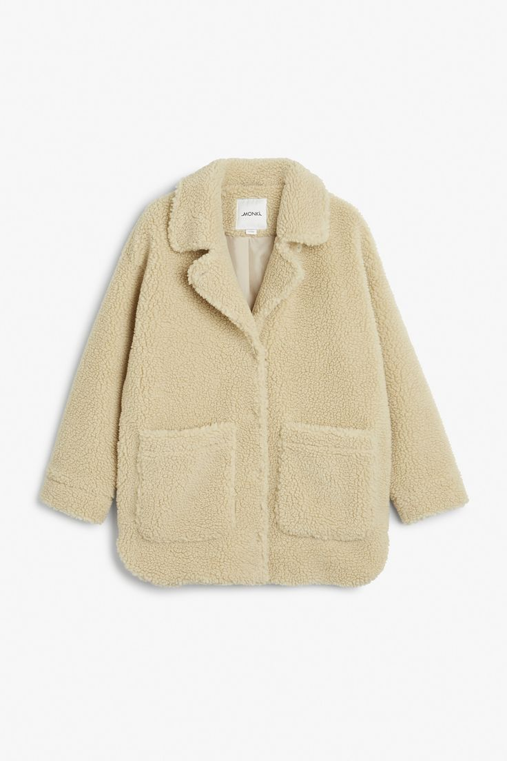 Monki Image 1 of Shearling coat in Beige Light