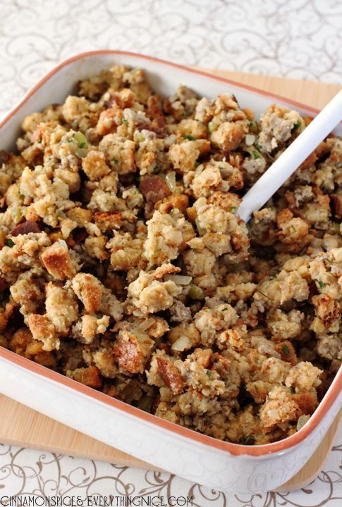 My Mom's traditional homestyle Thanksgiving sausage stuffing, a versatile recipe with a lot of options. You can use it to stuff a turkey or bake it in a casserole dish.