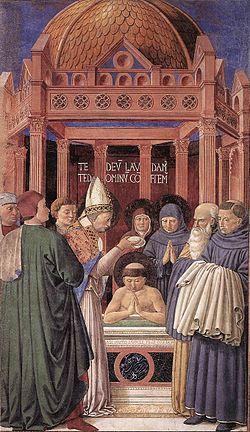Agustín es bautizado por el obispo Ambrosio