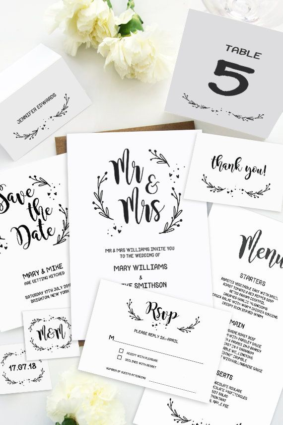 This wedding invitation set includes ten high resolution templates - format for invitation