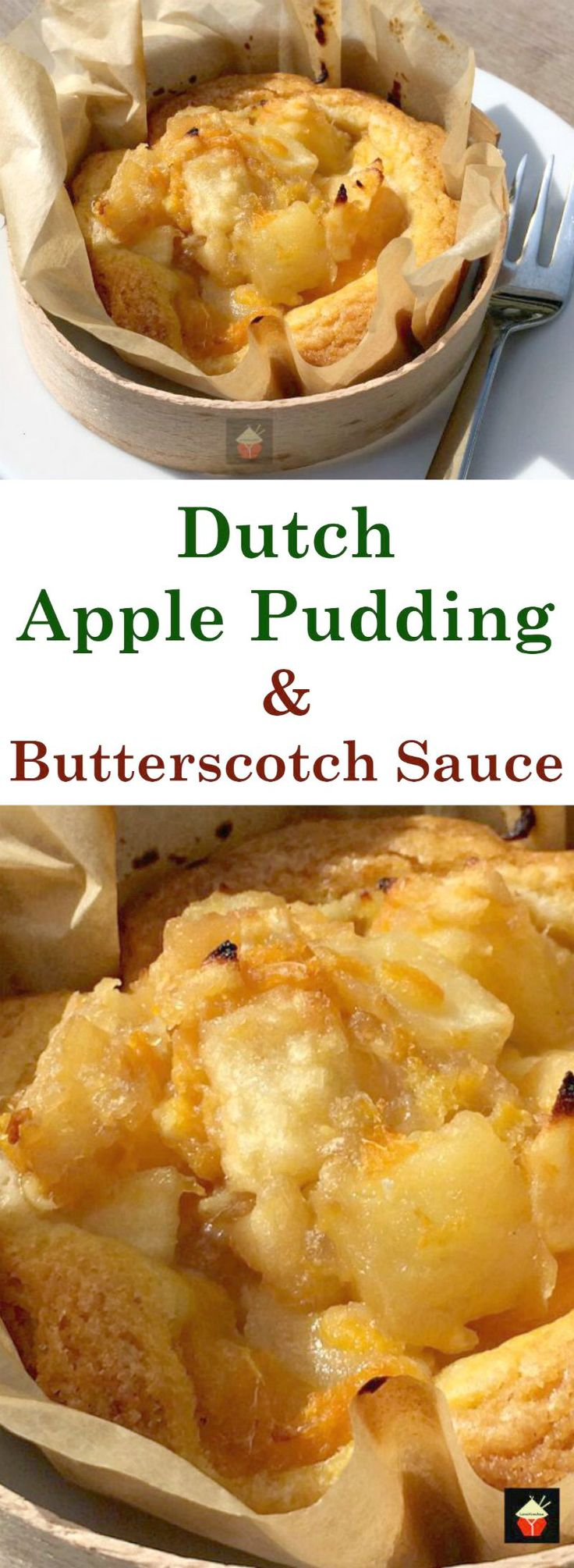 Dutch Apple Pudding with Butterscotch Sauce, this is a delicious dessert. A soft and fluffy cake filled with chunks of apple, and a sprinkle of cinnamon. Served with a drizzle of warm butterscotch sauce. So Yummy!