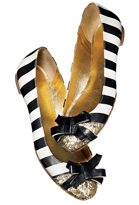 black and white striped flats with bows - Kate Spade flats