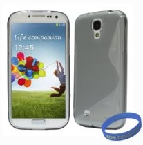 Worldshopping Slim-Fit S-Line Ultra Durable TPU Back Case Cover for Samsung Galaxy S4 SIV + Free Accessories (Galaxy S4, Gray)  $4.99