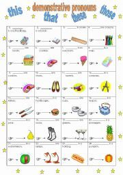 English worksheet: demonstrative pronouns- this, that, these, those (14.02.11)