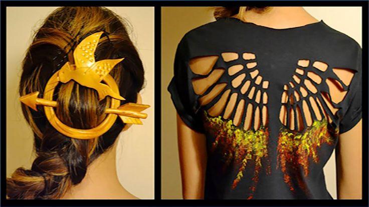 DIY Hunger Games Shirt & Hair Pin- Mockingjay- Youtube: Mey Lynn