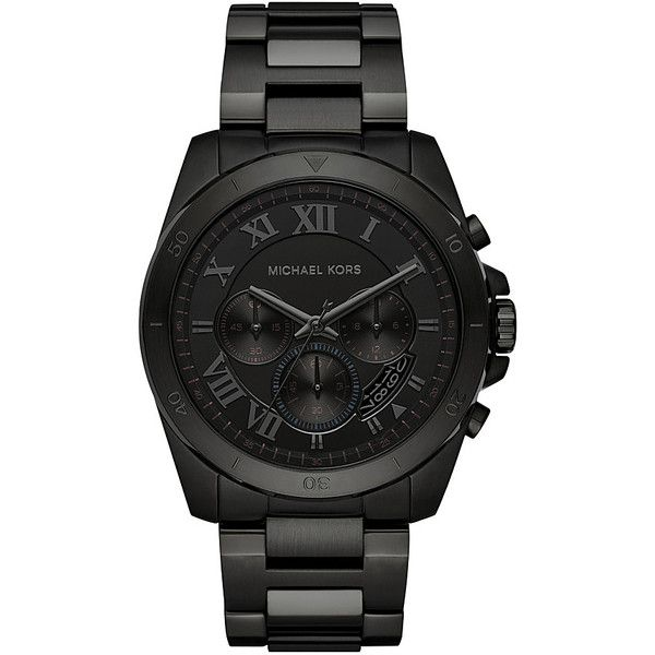 Michael Kors Watches Brecken Chronograph Watch (410 NZD) ❤ liked on Polyvore featuring men's fashion, men's jewelry, men's watches, black, mens chronograph watches, michael kors mens watches and mens quartz watches